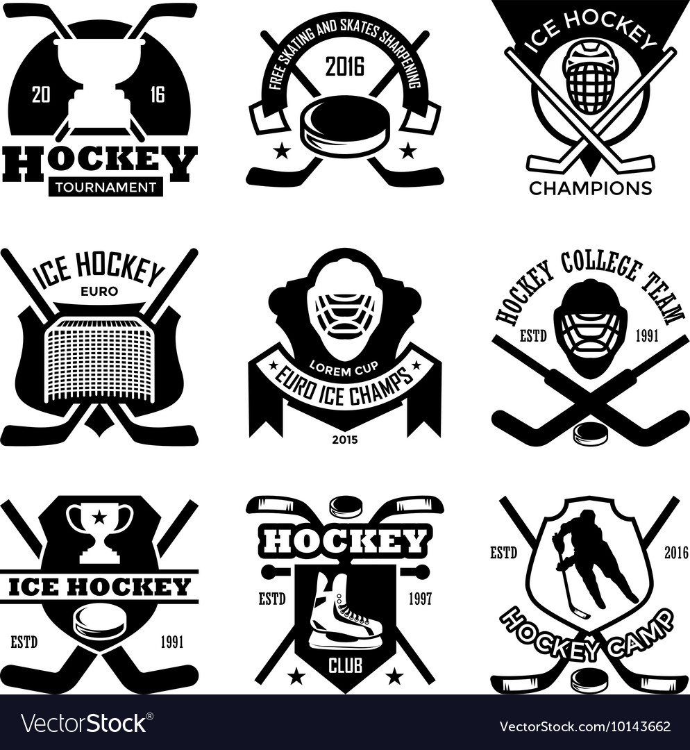 Ice hockey badges vector