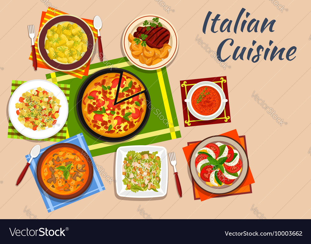 National italian cuisine menu dishes vector