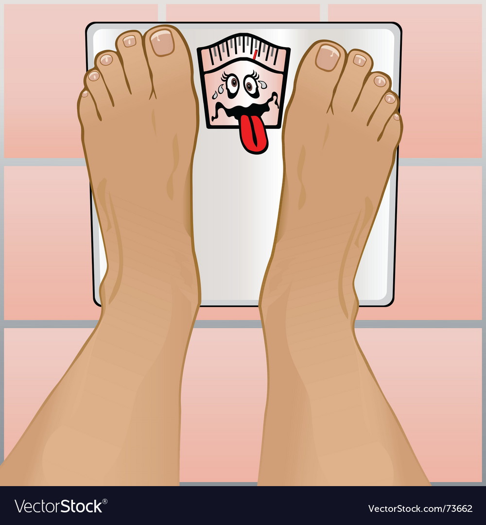 Persons feet on weighing scale vector