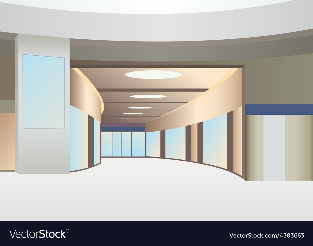 Hall in trade center with corridor and windows vector