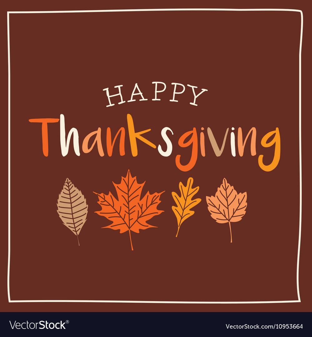 Thanksgiving card with autumn leaves brown vector