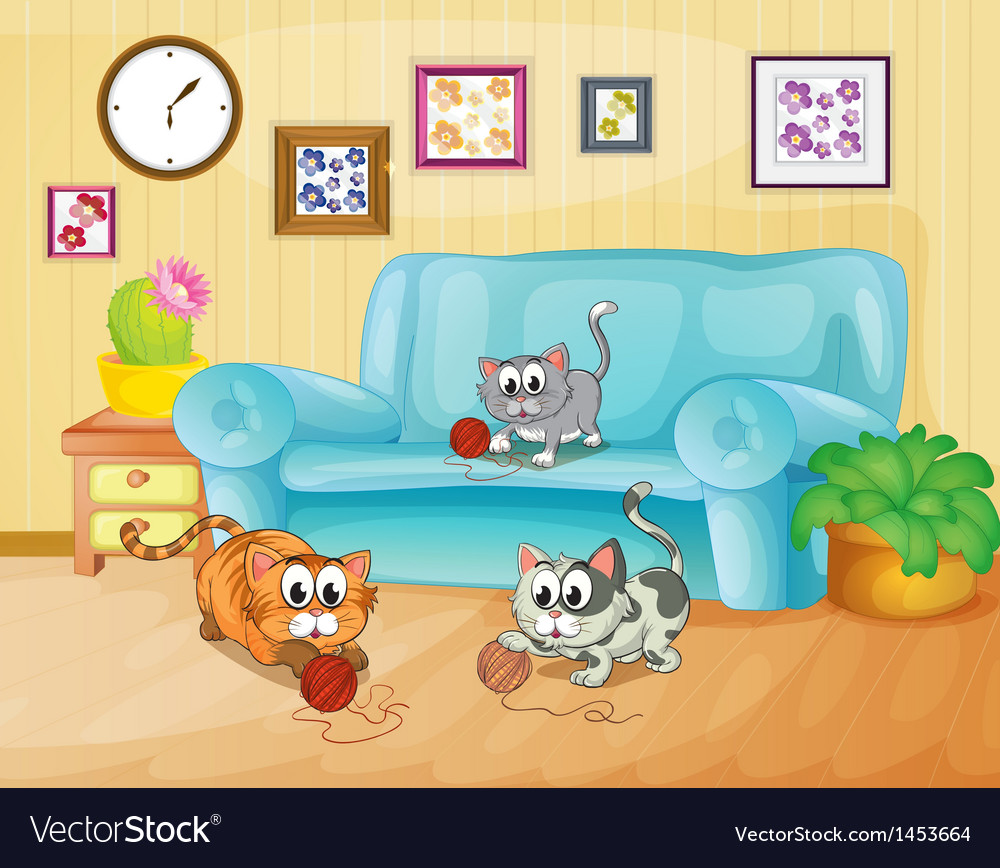 Three cats playing inside the house vector