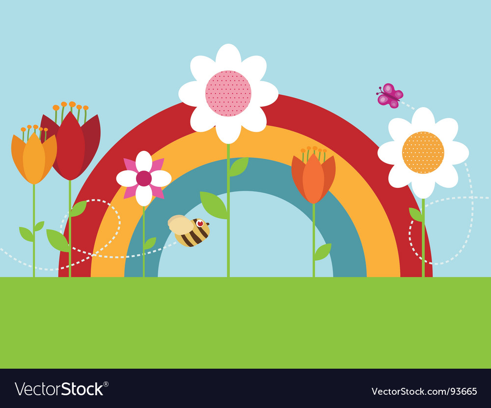 Rainbow flower garden vector