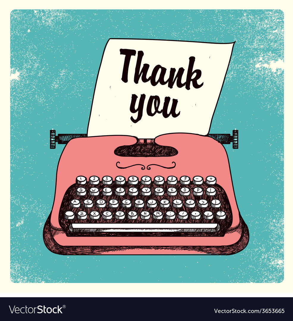 Retro typing writer thank you card vector