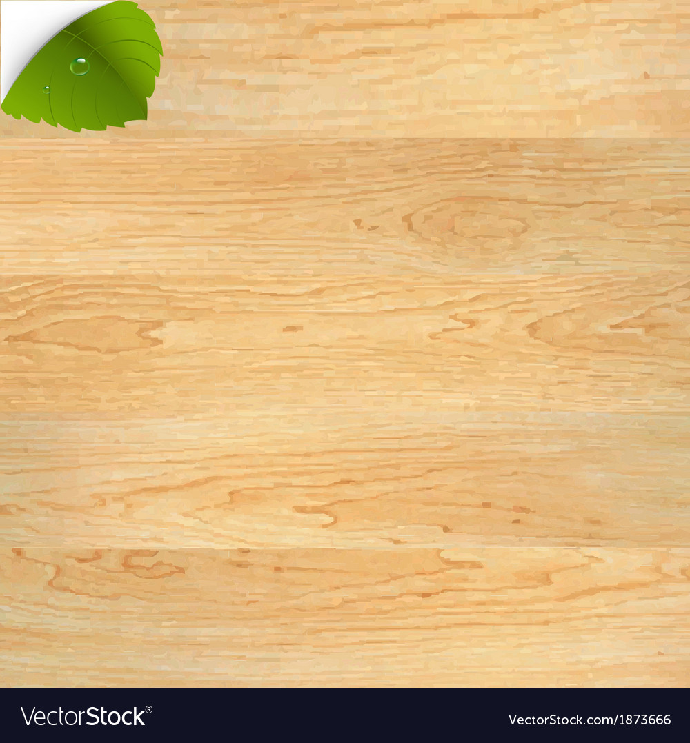 Wood texture with green leaf vector