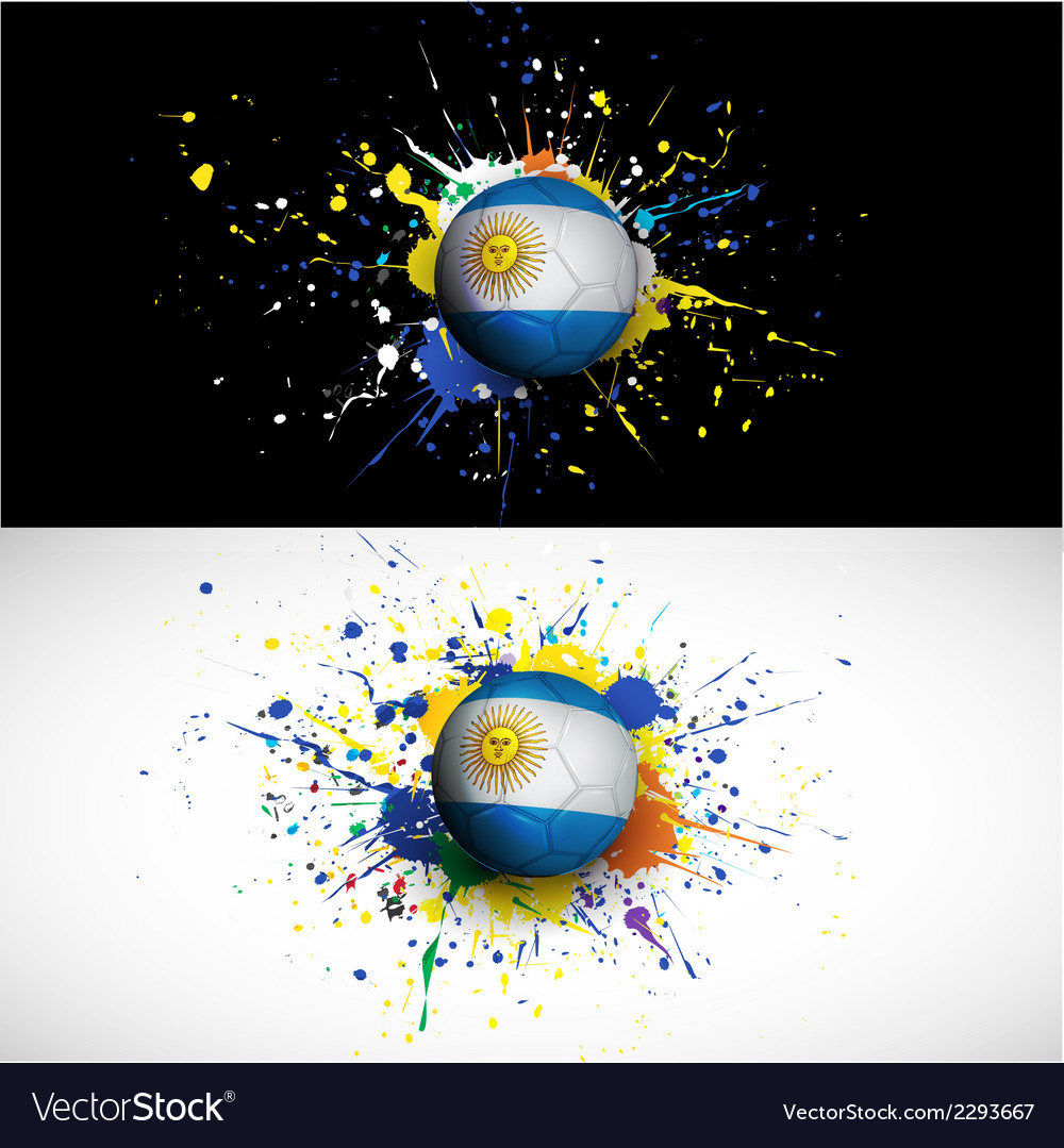 Argentina flag with soccer ball dash on colorful vector