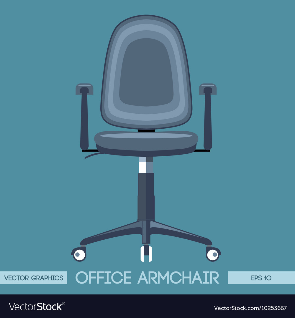 Silver modern office armchair over blue background vector
