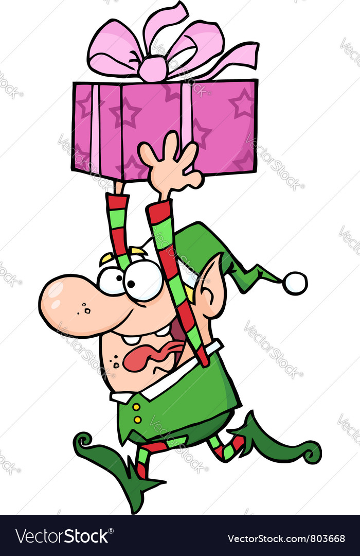 Happy santa elf runs with gift vector