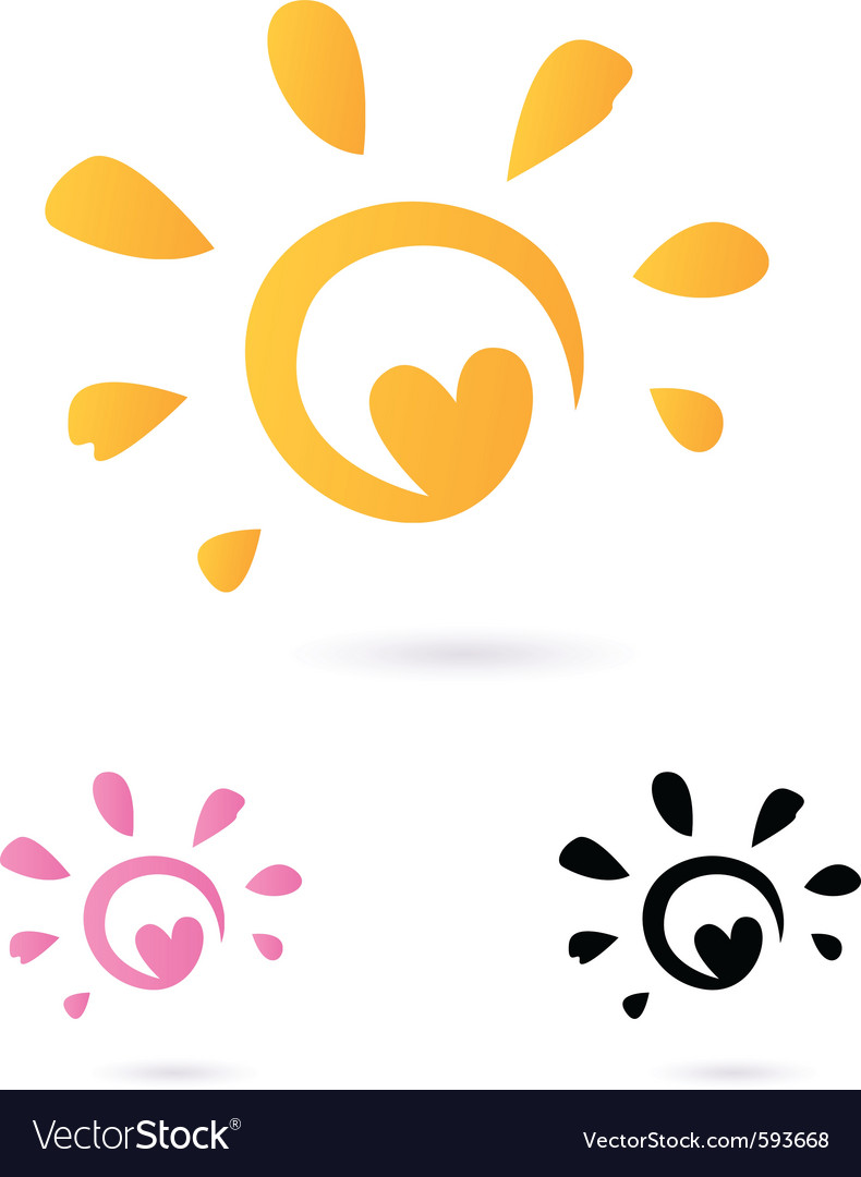 Heart sun icon vector