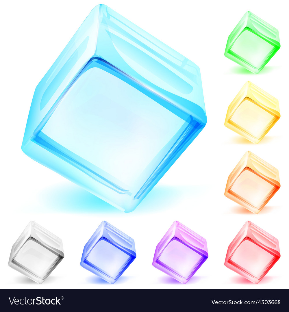 Opaque glass cubes vector