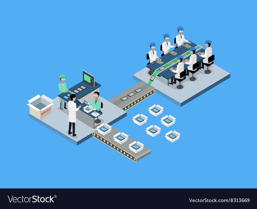 Production tablet or smartphone 3d isometric vector