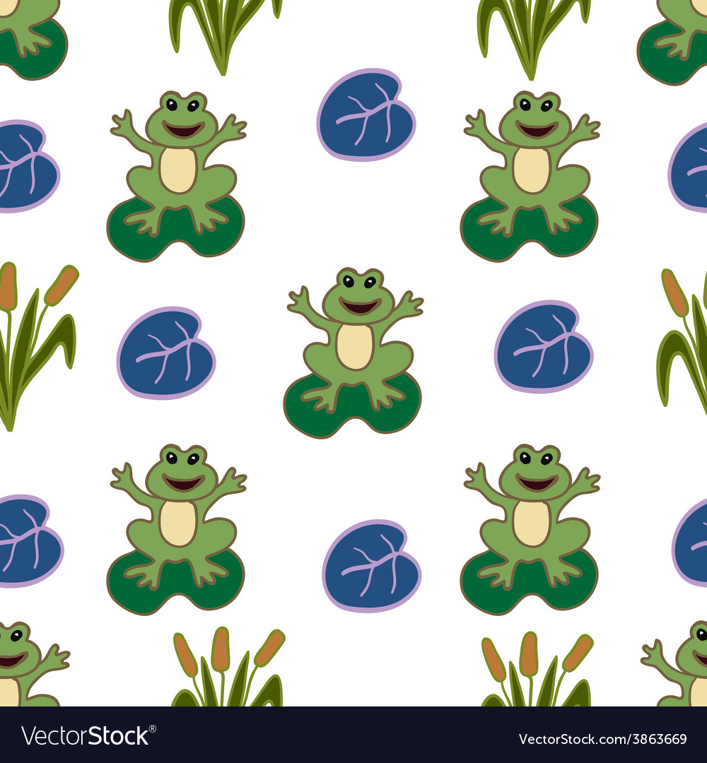 Seamless pattern frogs vector