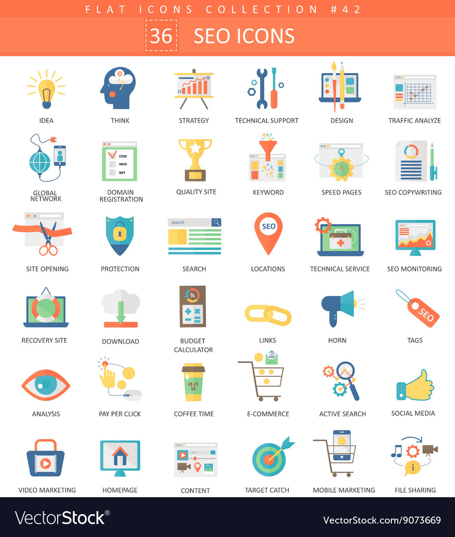 Seo and development color flat icon set vector