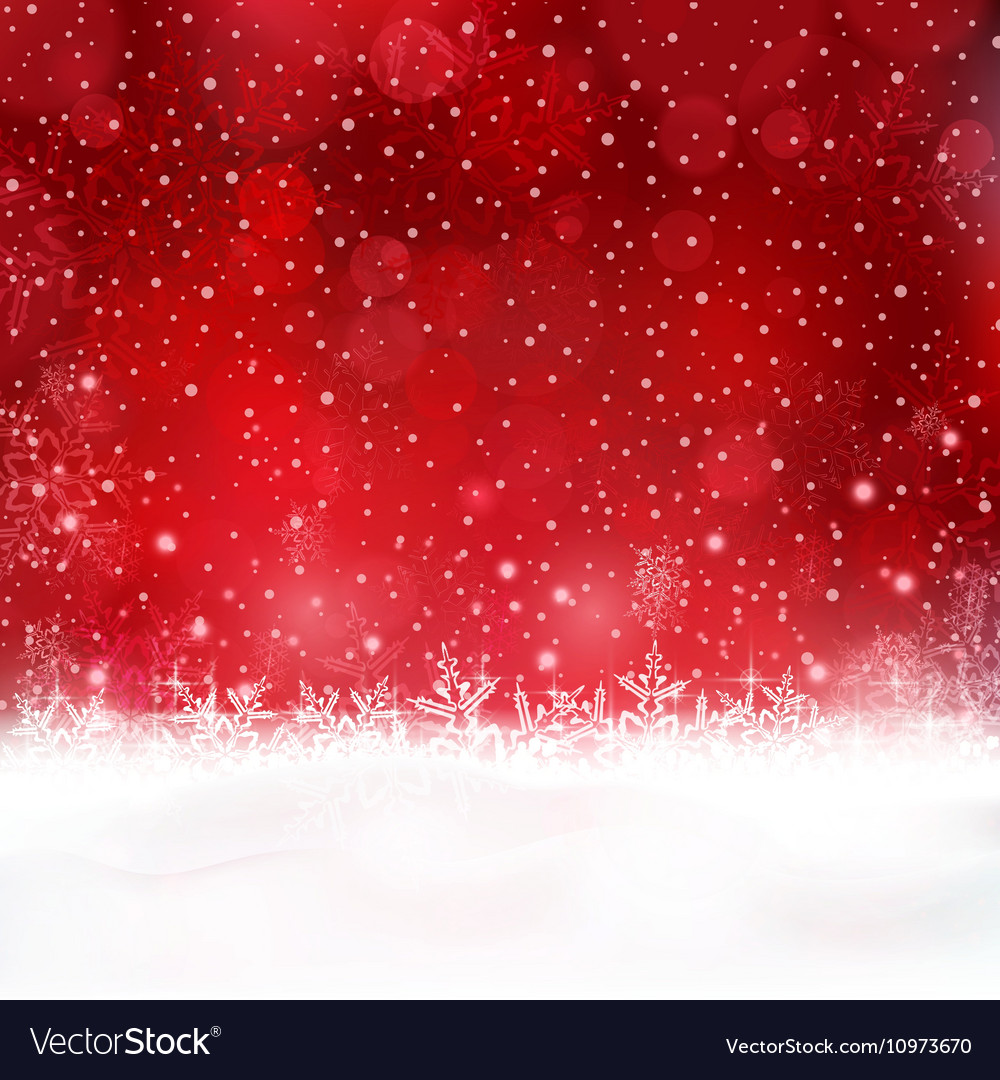Abstract red christmas snow background vector