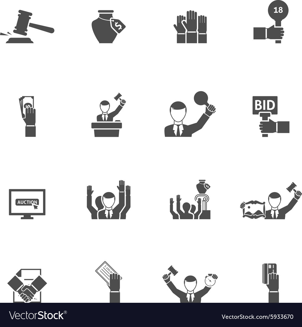 Auction black white icons set vector