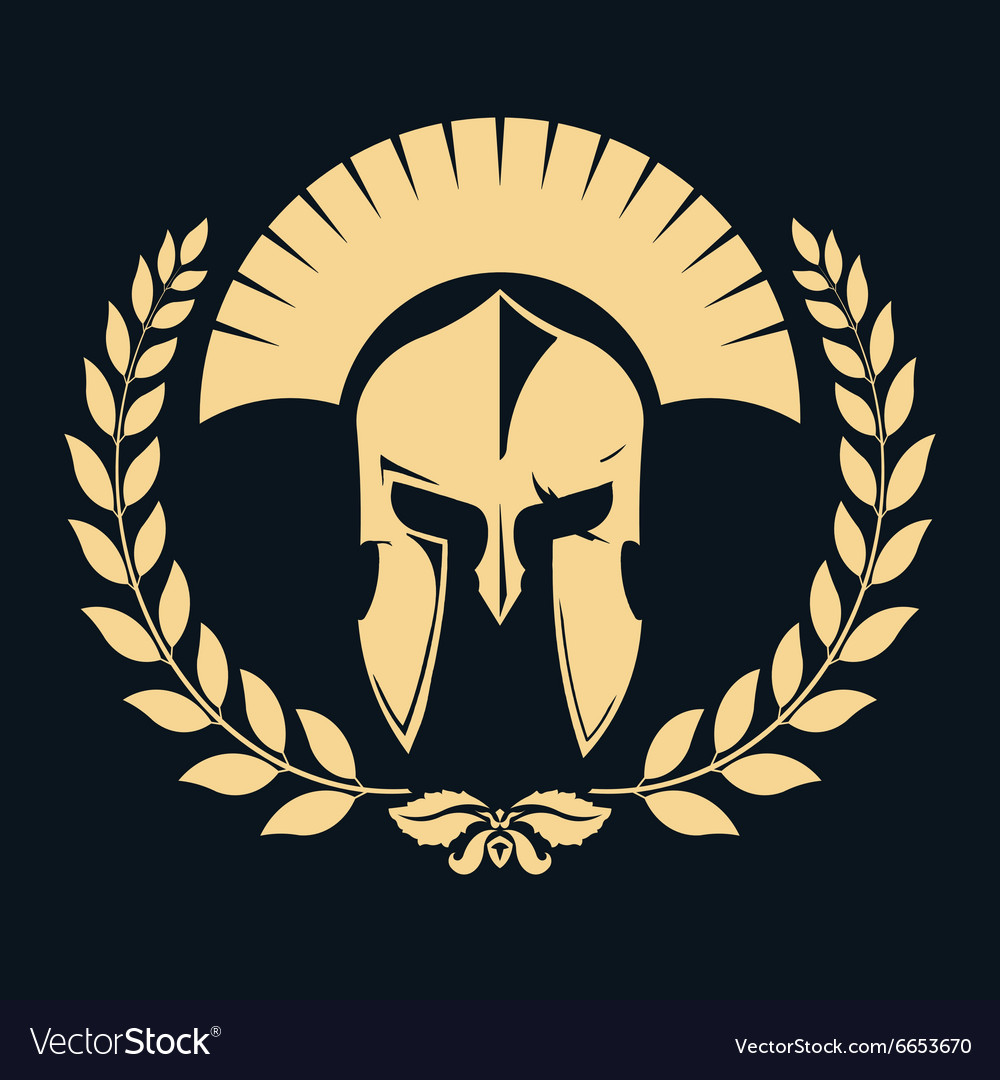 Gladiator silhouette with laurel wreath vector