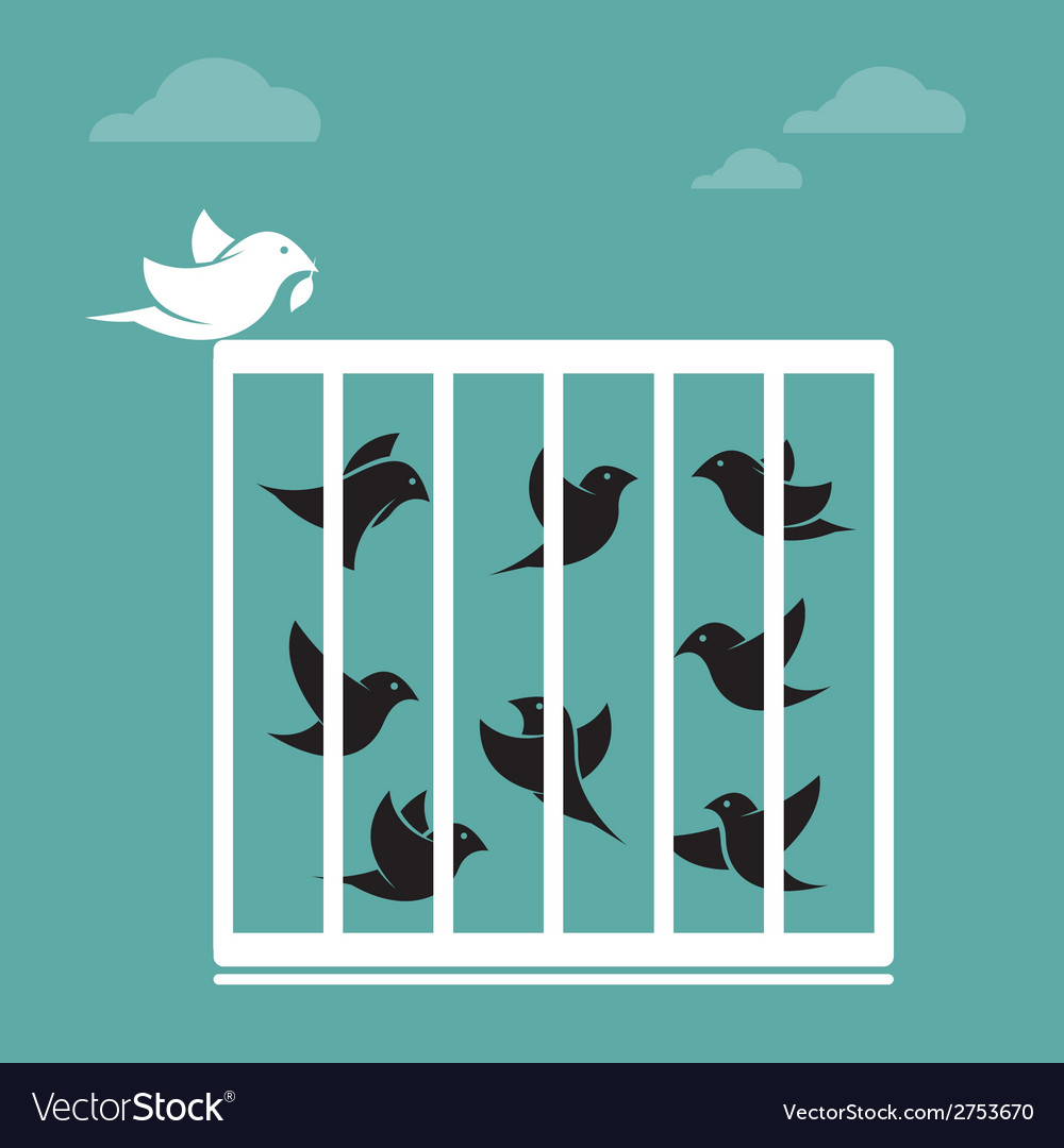 Image of a bird in the cage and outside the cage vector