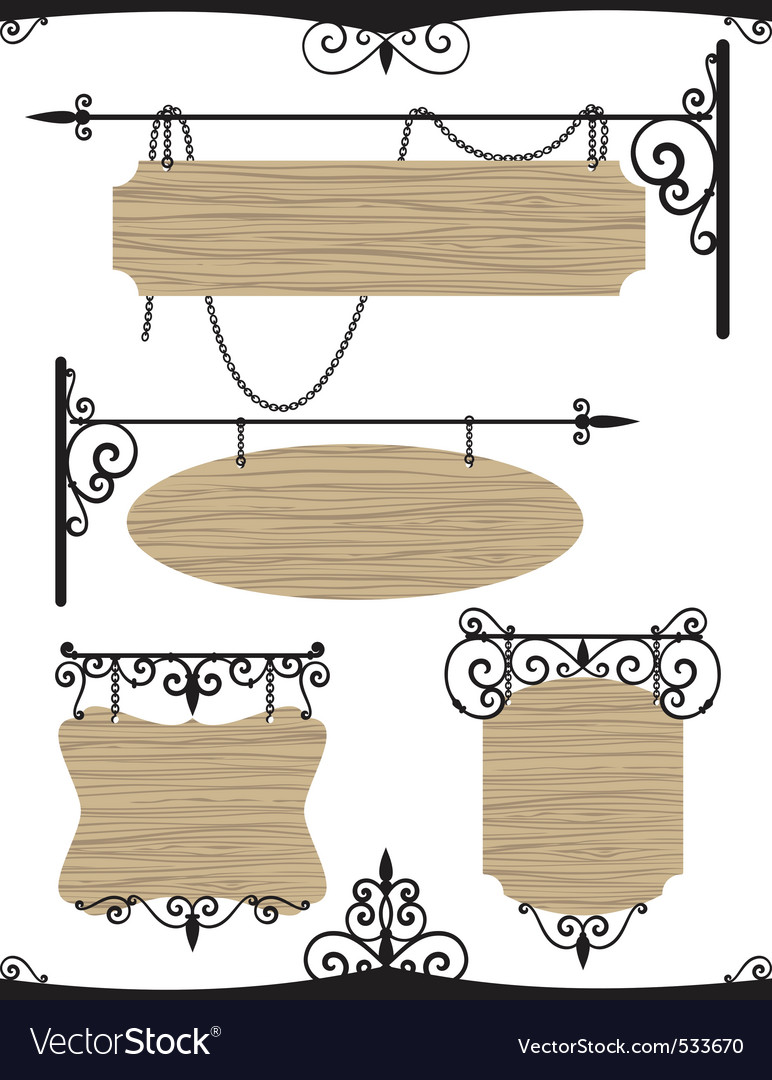 Wooden wrought iron vintage signs set vector