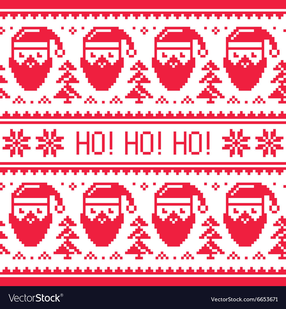 Christmas seamless red pattern with santa vector