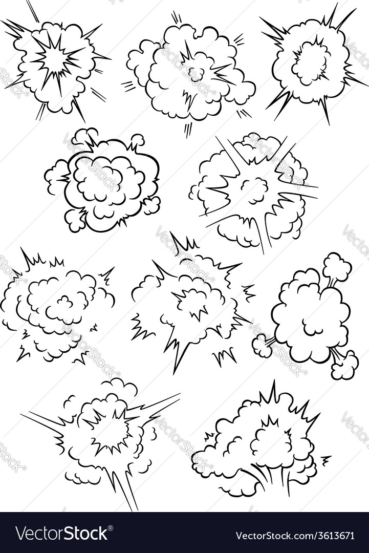 Comics explosion clouds set vector