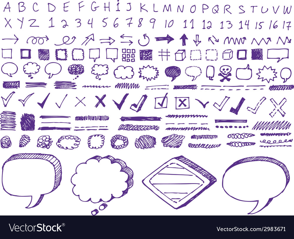 Set of handdrawn isolated highlighter elements vector