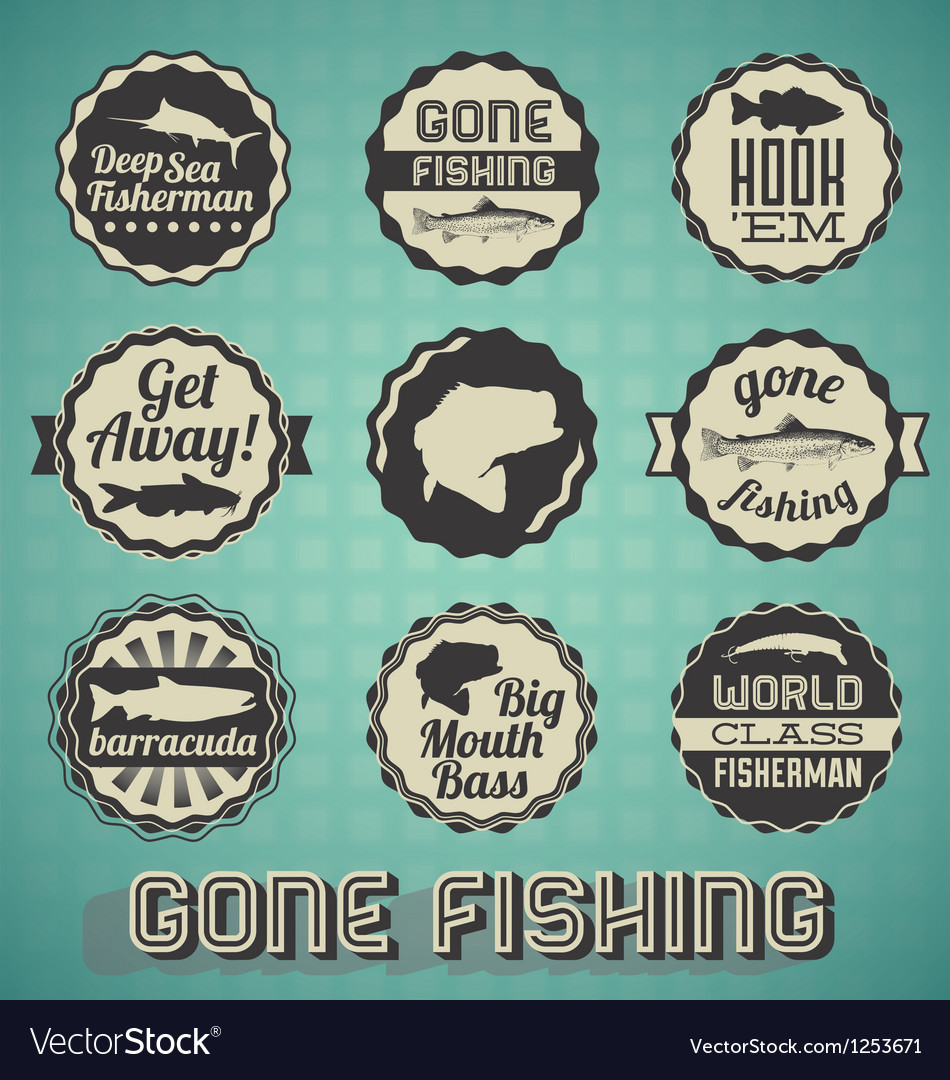 Vintage gone fishing labels vector