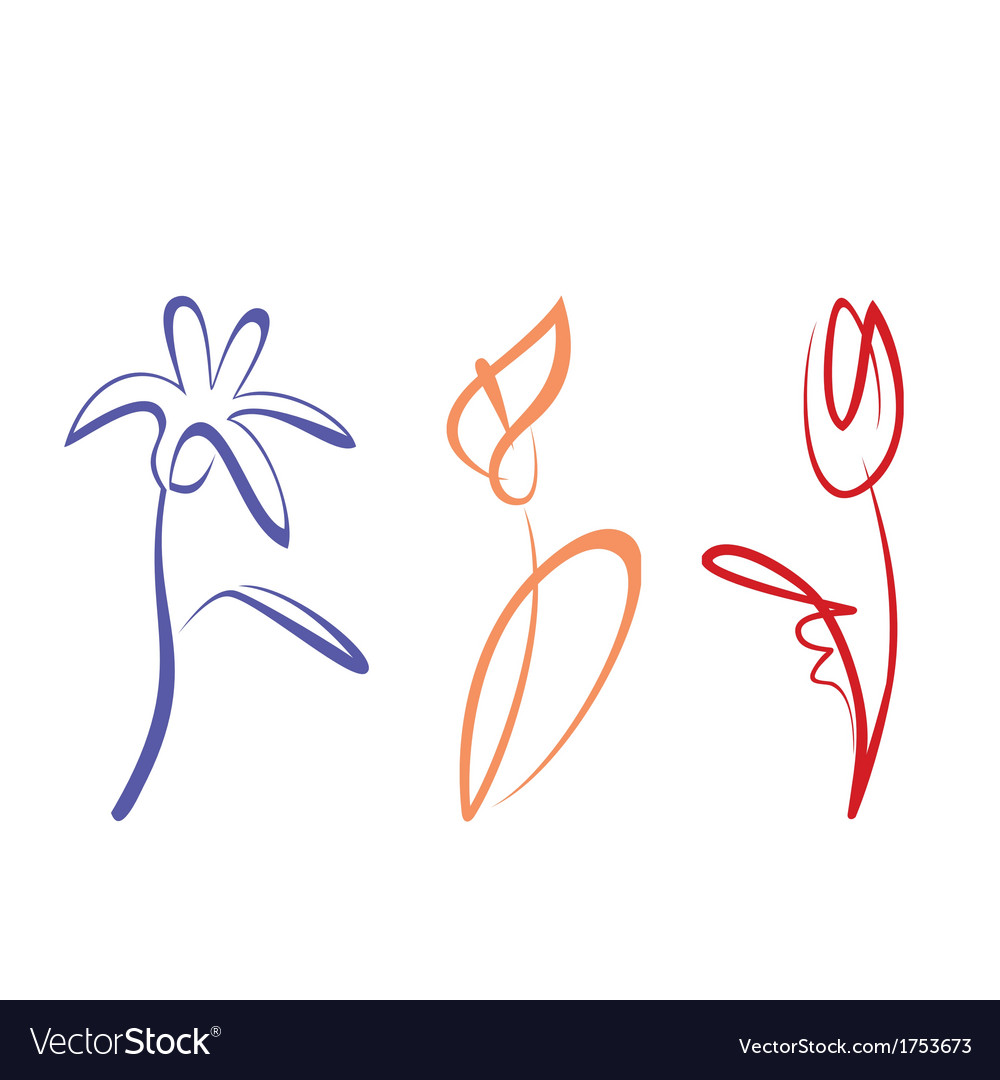 Outlined hand drawn flower collection vector