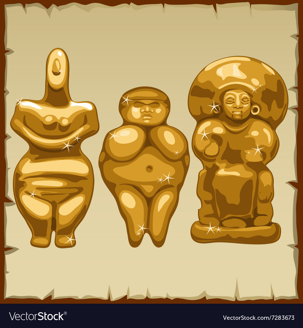 Set of three ancient golden sculpture vector