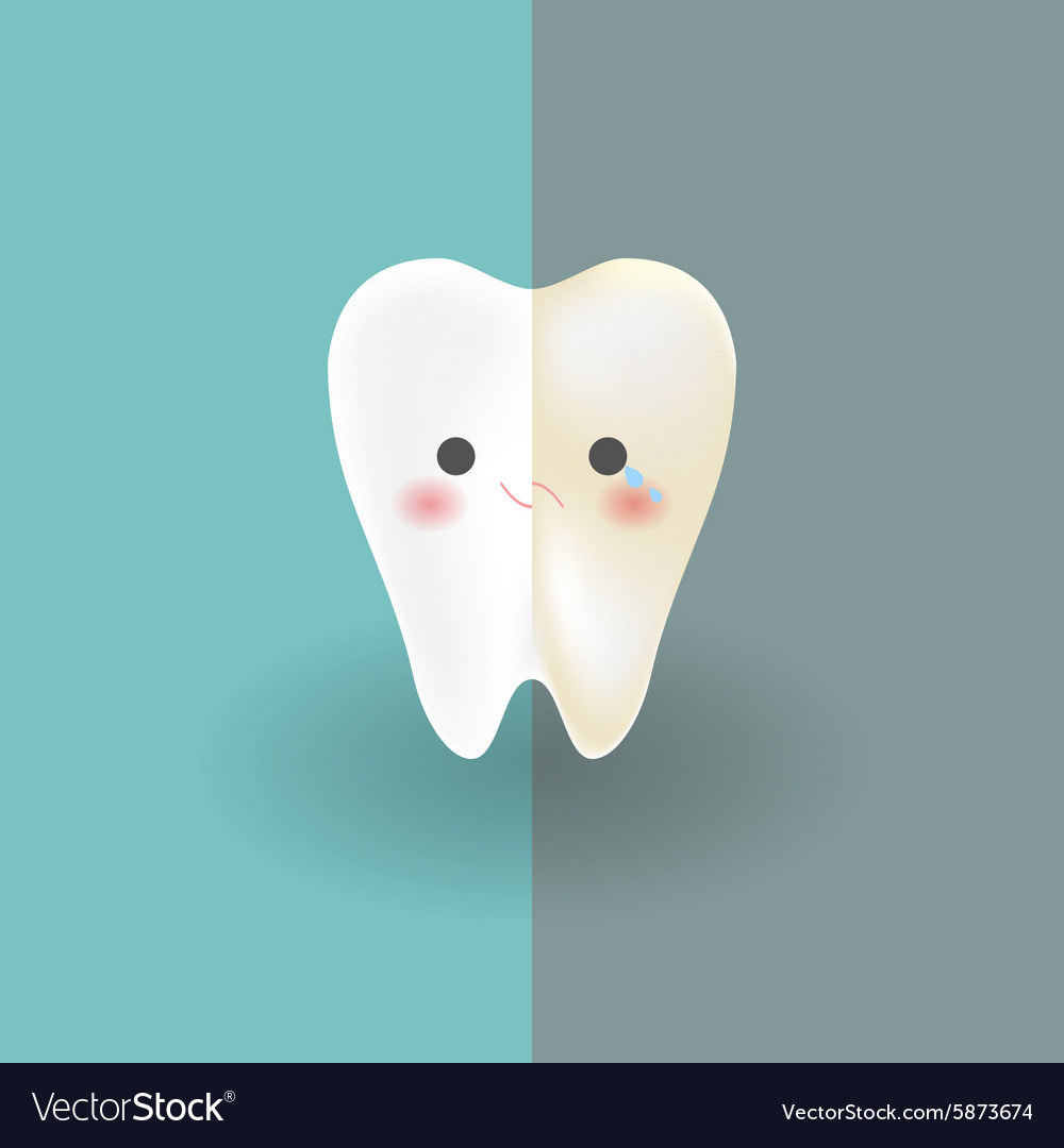 Cute tooth which half of it is white happy and vector