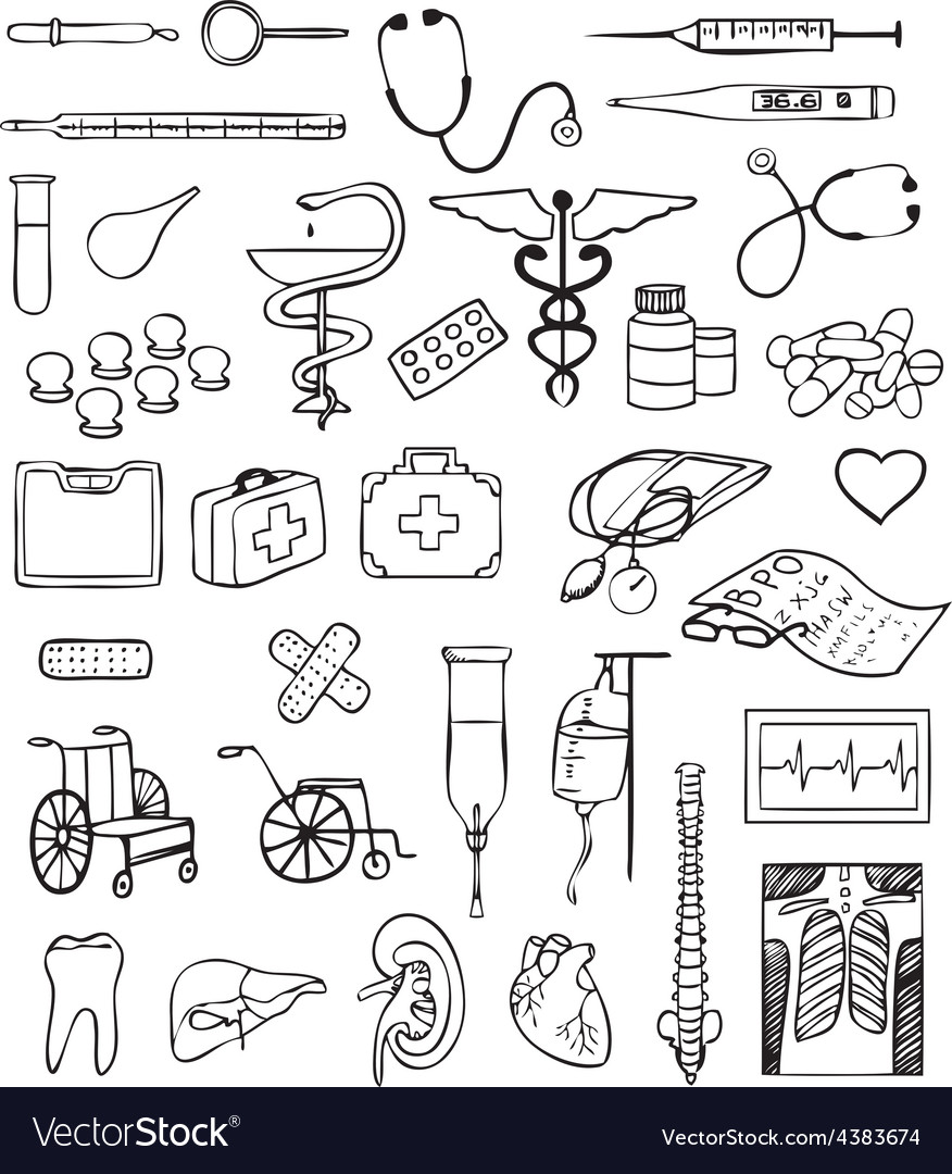 Health and medical set vector