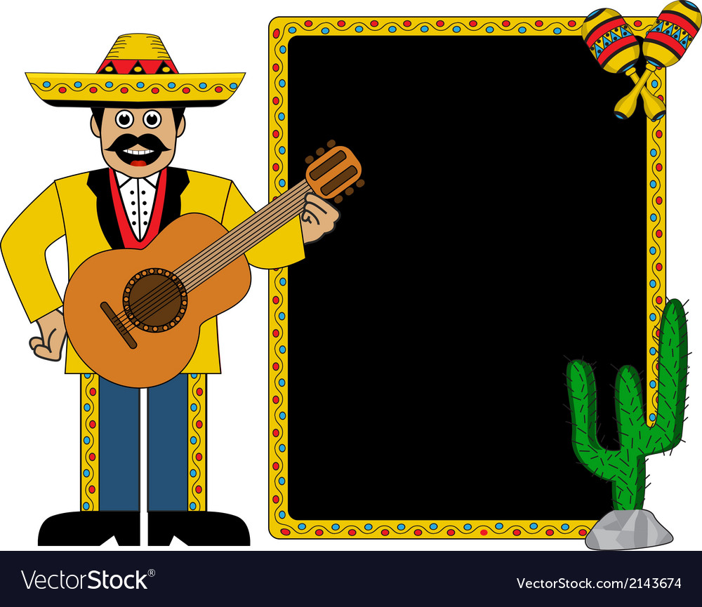 Hispanic man wearing a hat and with a guitar vector