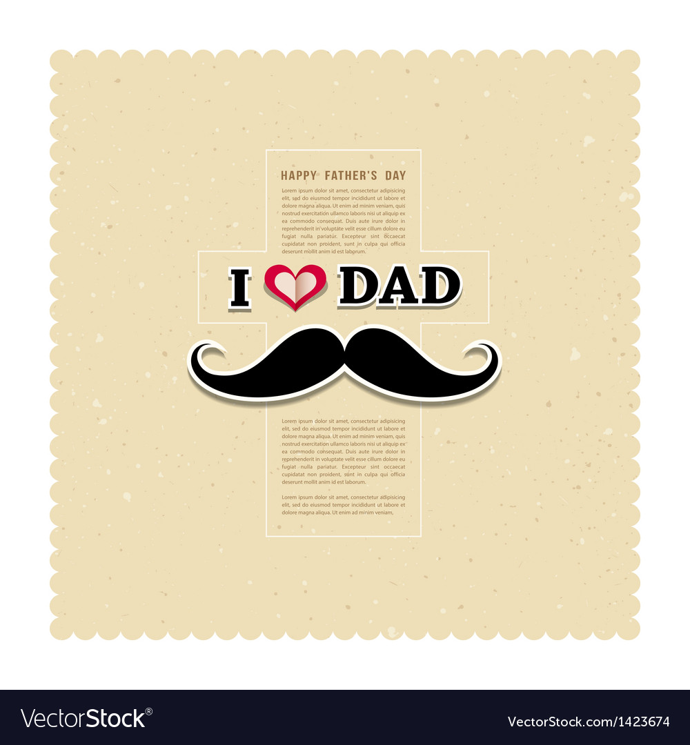 I love my dad on recycled paper background vector