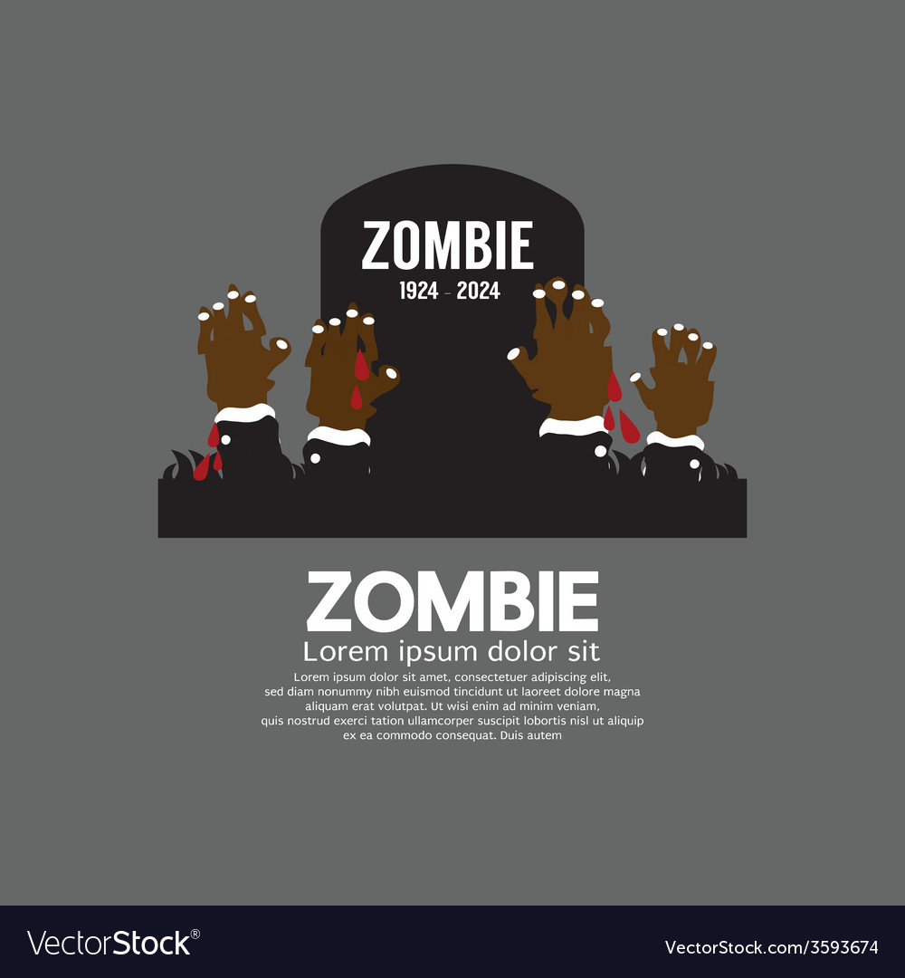 Zombie hands coming out in front of the grave vector