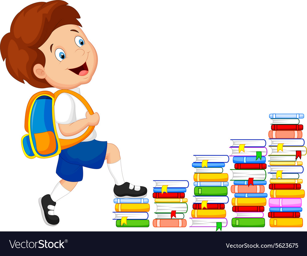 Child climbing stairs vector