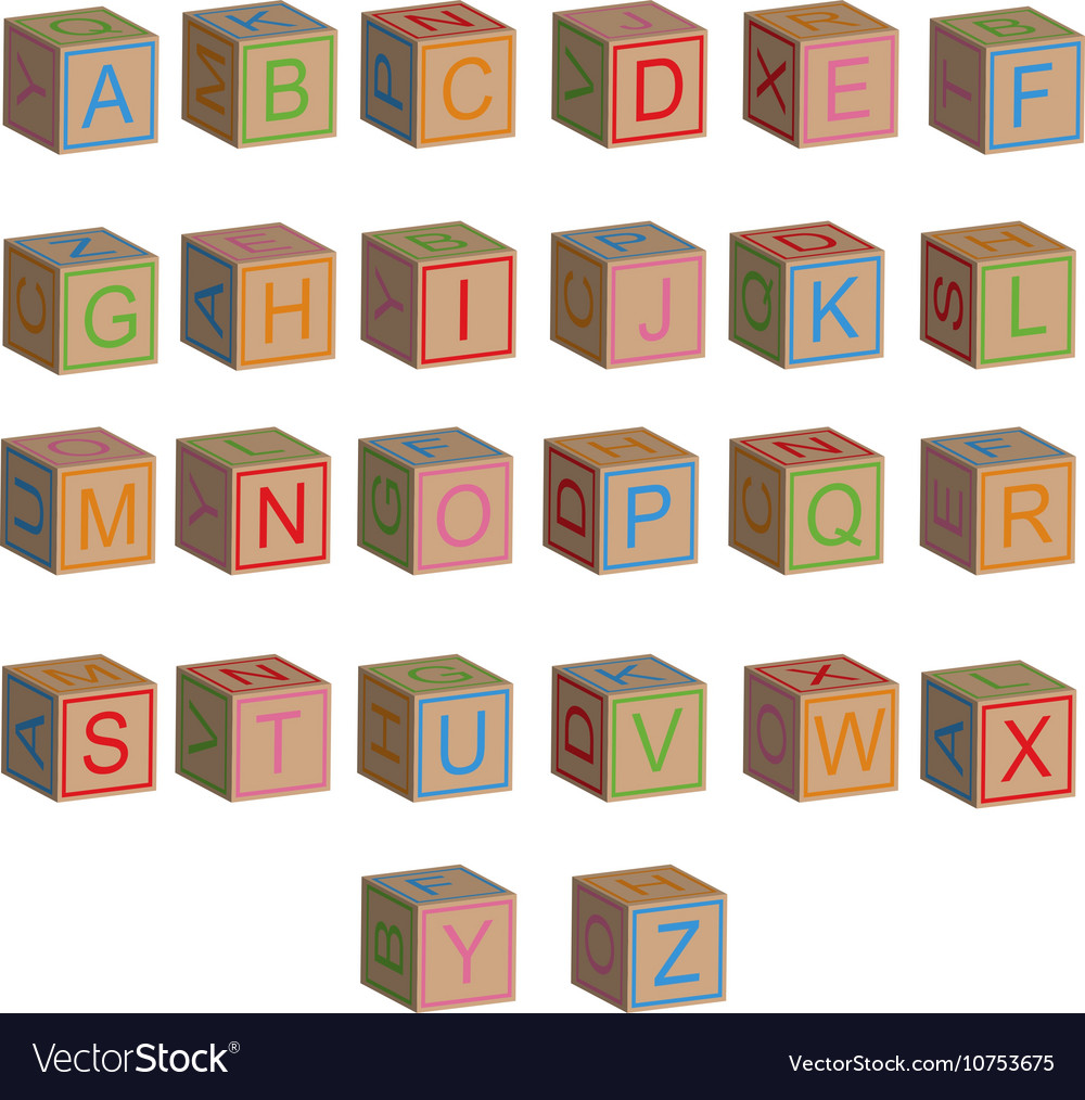 Toy block alphabet letters in 3d vector