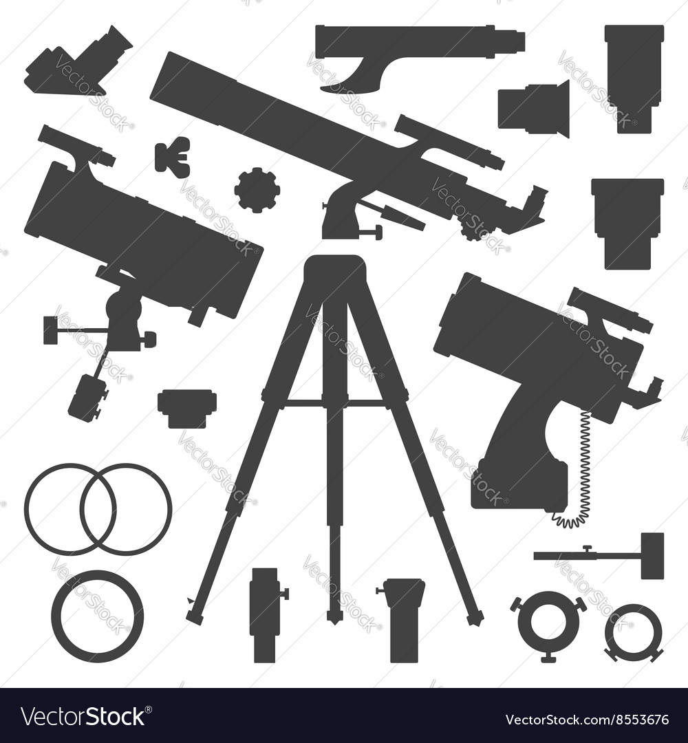 Astronomy telescope silhouette collection vector