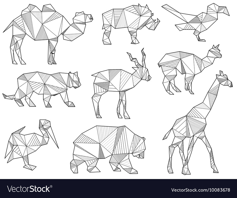 Origami wild animal silhouettes vector