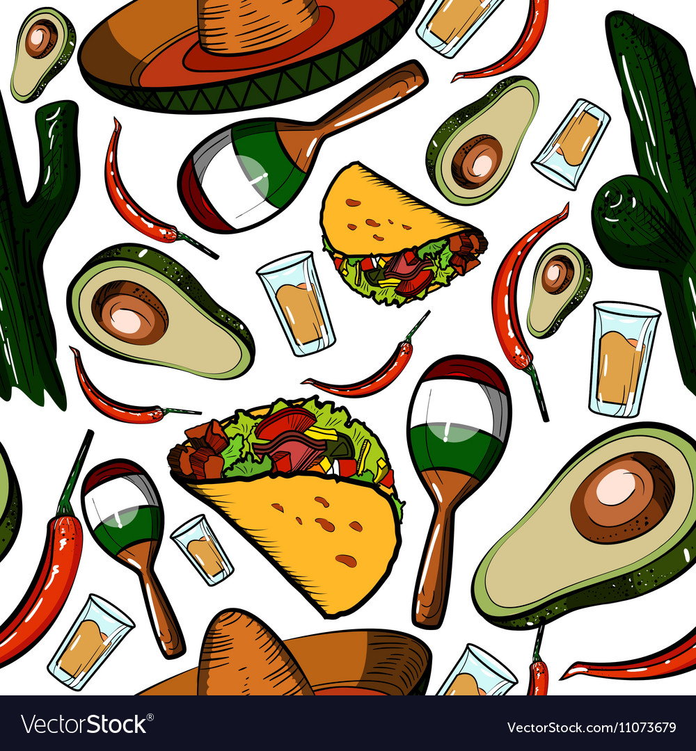 Hand drawn mexico pattern vector