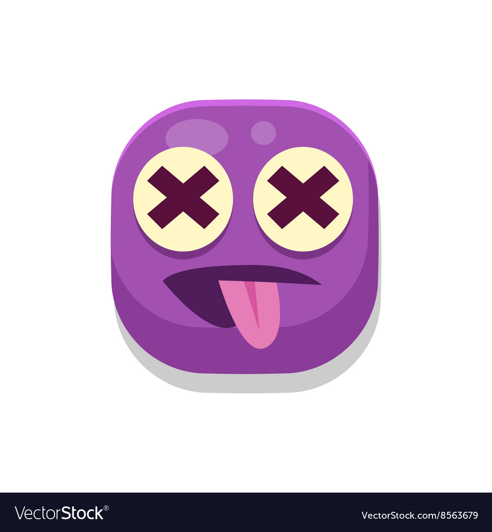 Silly monster square icon vector