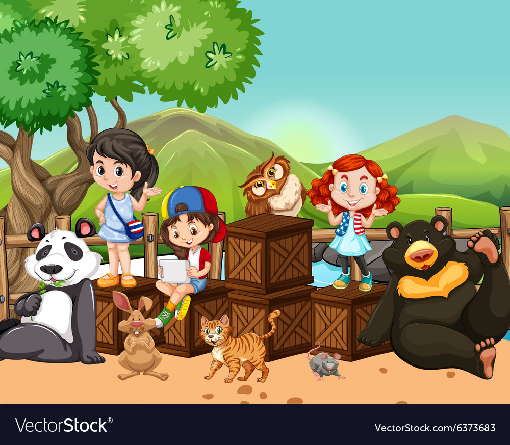 Children and wild animals outside vector