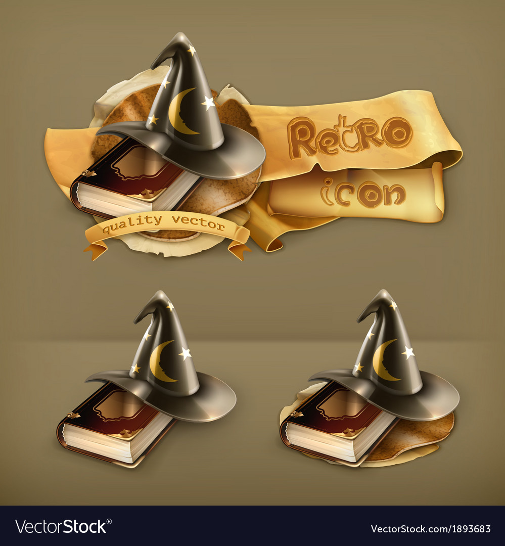 Wizard hat and old book icon vector