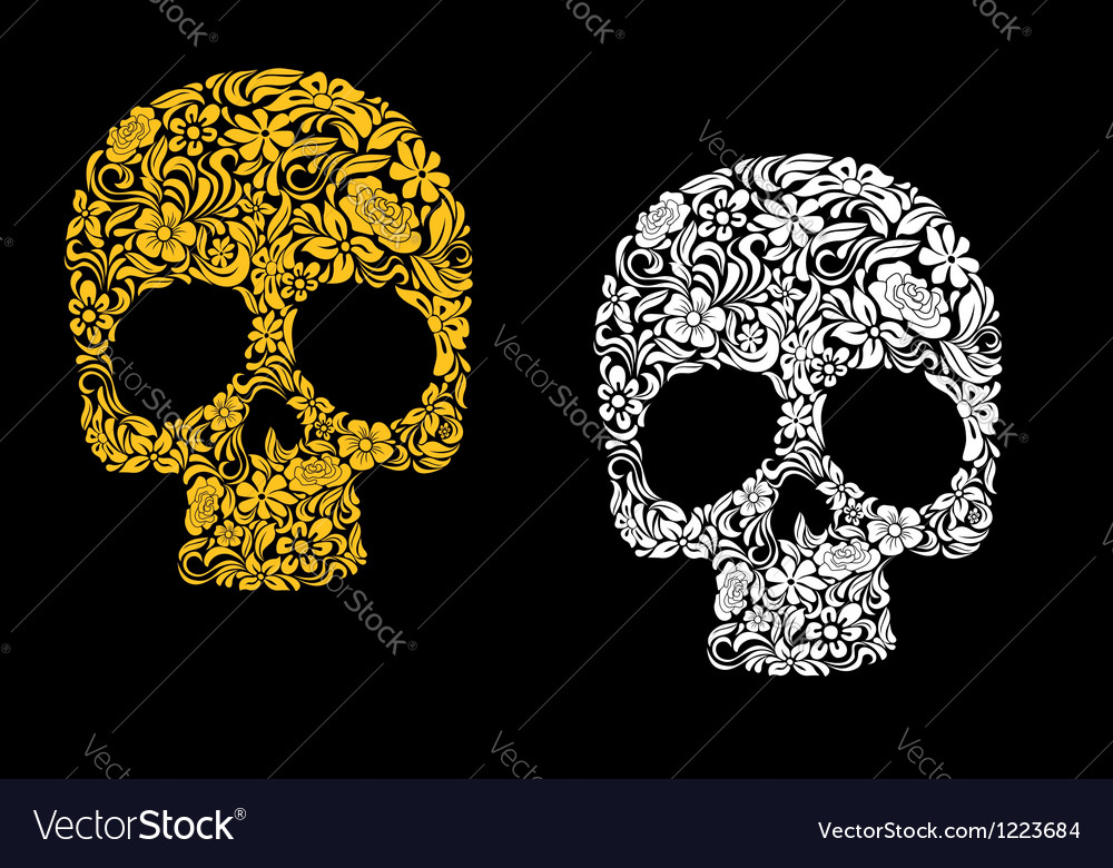 Floral skull in retro style vector