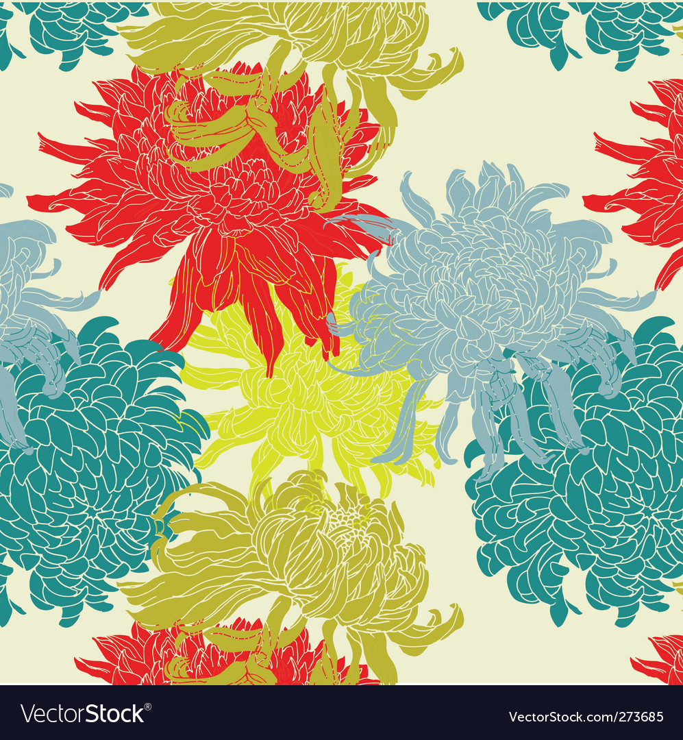 Chrysanthemum pattern vector