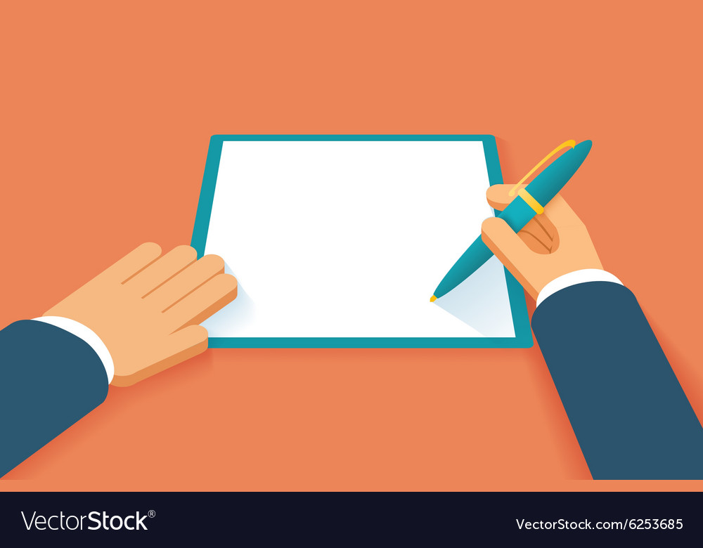 Hands sign contract vector