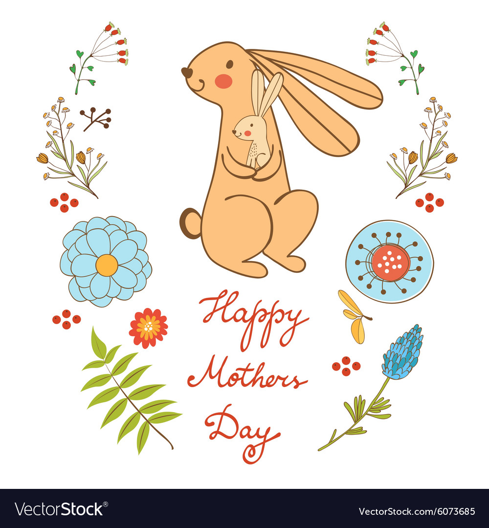 Happy mothers day card with cute rabbits mom and vector