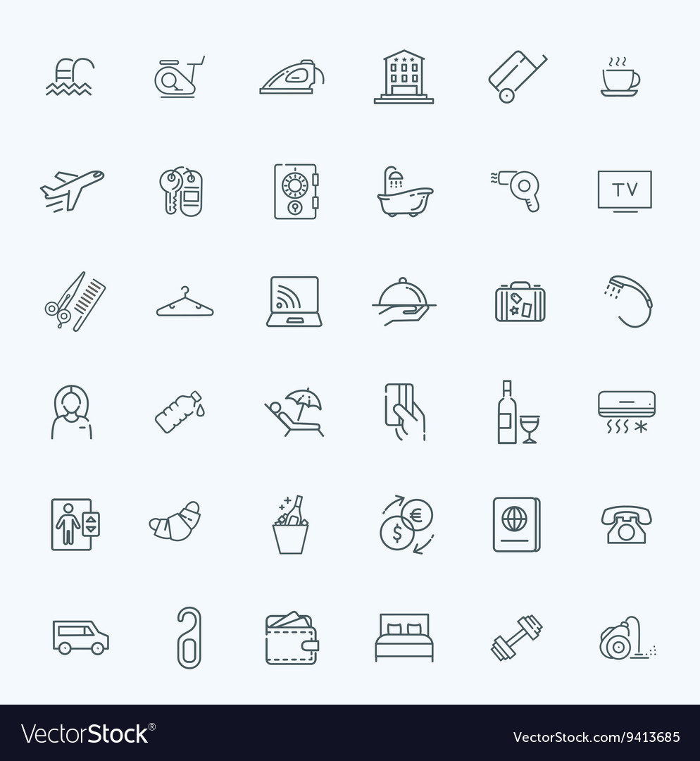 Outline web icon set  hotel services vector