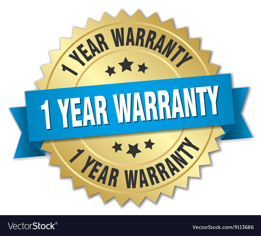 1 year warranty 3d gold badge with blue ribbon vector