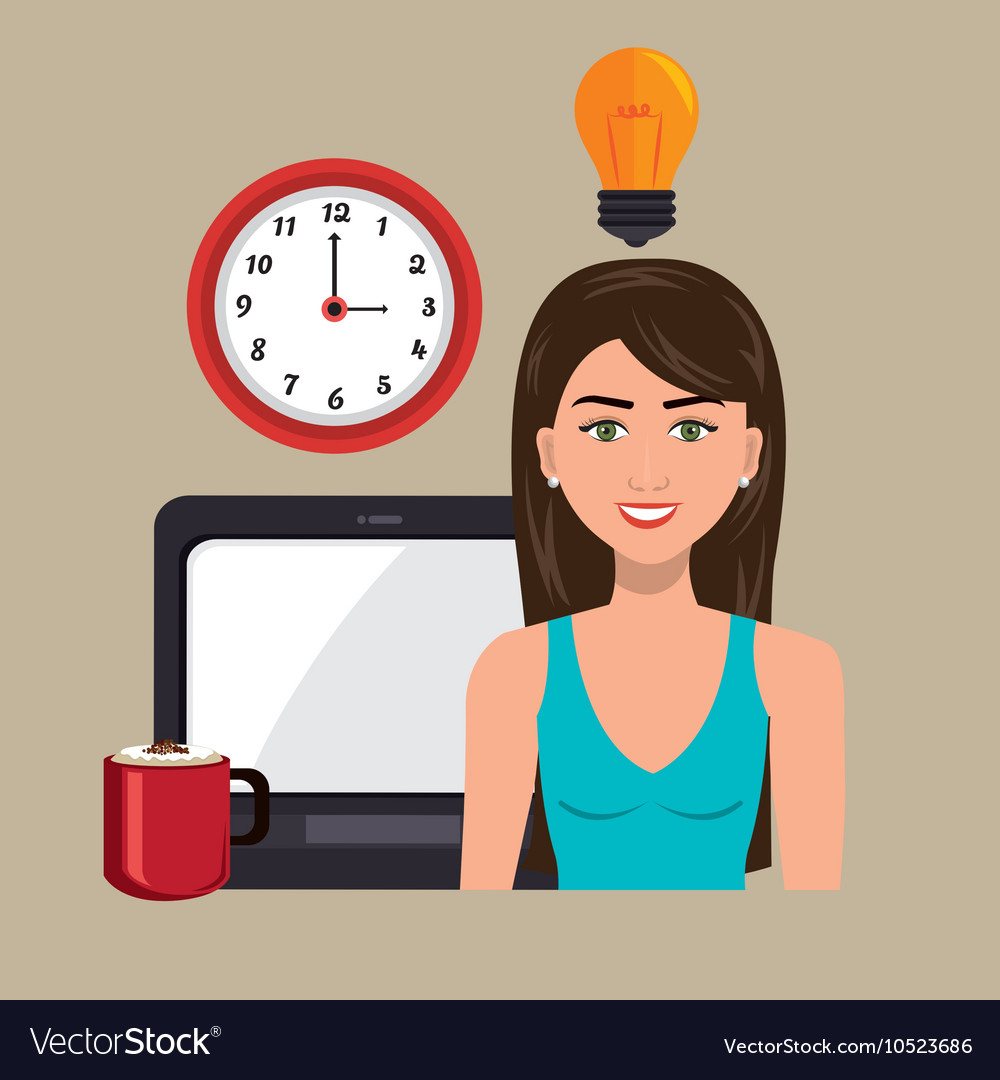 Woman laptop clock idea vector