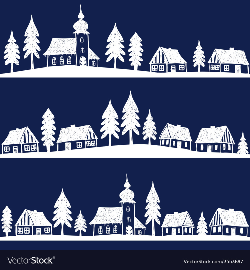 Christmas village with church seamless pattern vector