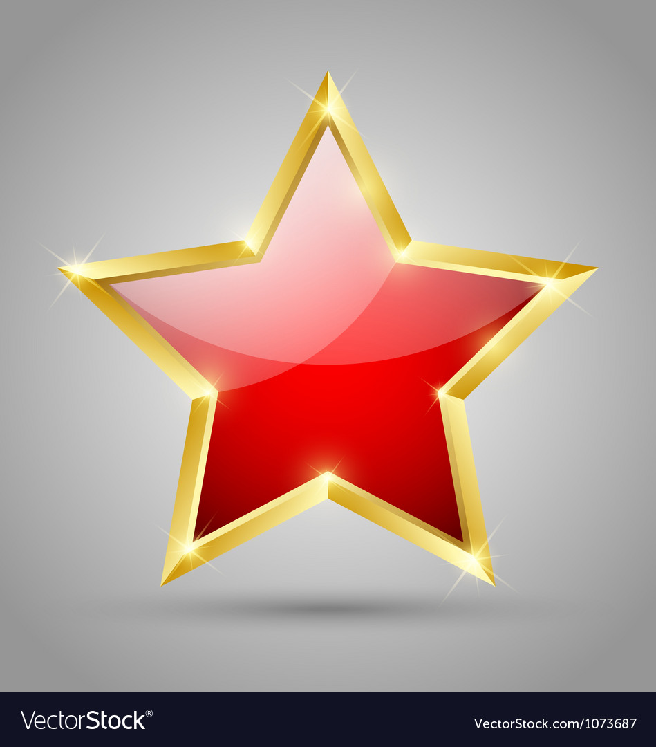 Red glossy star vector